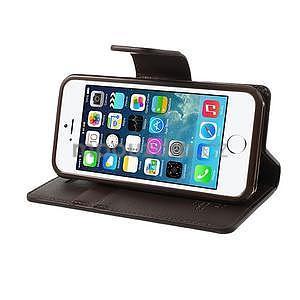 Peňaženkové koženkové puzdro na iPhone 5s a iPhone 5 - hnedé - 4