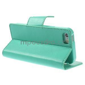 Peňaženkové koženkové puzdro na iPhone 5s a iPhone 5 - azurové - 4