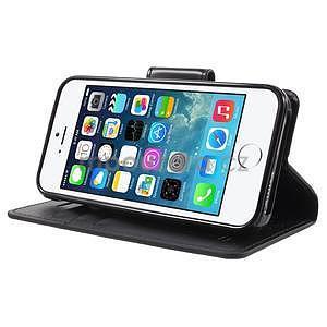 Peňaženkové koženkové puzdro na iPhone 5 a iPhone 5s - čierne - 4