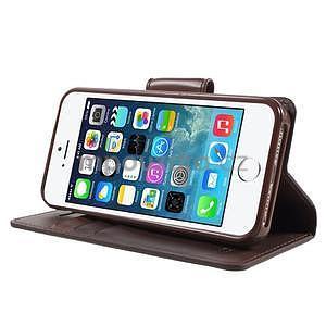 Peňaženkové koženkové puzdro na iPhone 5 a iPhone 5s - tmavohnedé - 4