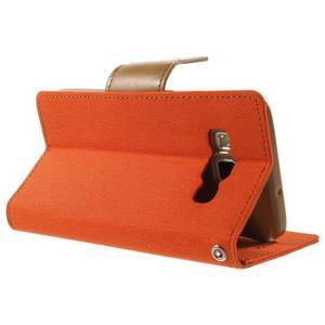 Luxury textilné / koženkové puzdro pre Samsung Galaxy A3 - oranžové - 4