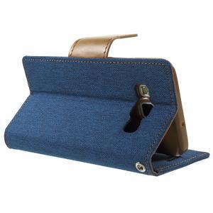 Luxury textilné / koženkové puzdro pre Samsung Galaxy A3    - modré - 4