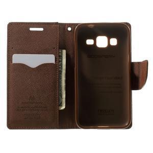 Fancy PU kožené puzdro pre Samsung Galaxy Core Prime - čierne/hnedé - 4