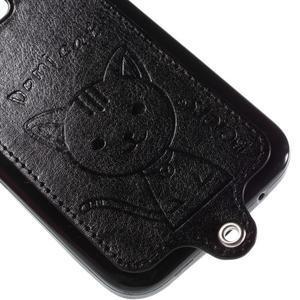 Mačička Domi kryt s koženkovým chrptom pre Samsung Galaxy Core Prime - čierný - 4