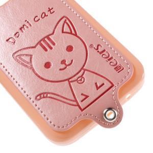 Mačička Domi kryt s koženkovým chrptom pre Samsung Galaxy Core Prime - ružový - 4