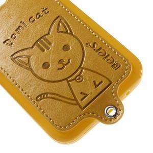 Mačička Domi kryt s koženkovým chrptom pre Samsung Galaxy Core Prime - žltý - 4