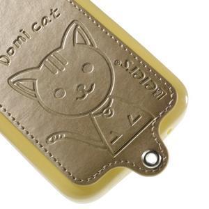 Kočička Domi kryt s koženkovými zády na Samsung Galaxy Core Prime - zlatý - 4