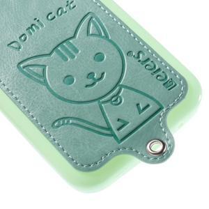 Kočička Domi kryt s koženkovými zády na Samsung Galaxy Core Prime - azurový - 4
