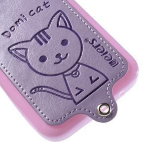 Mačička Domi kryt s koženkovým chrptom pre Samsung Galaxy Core Prime - fialový - 4