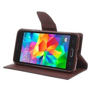 Diary PU kožené puzdro pre mobil Samsung Galaxy Grand Prime - čierne/hnedé - 4