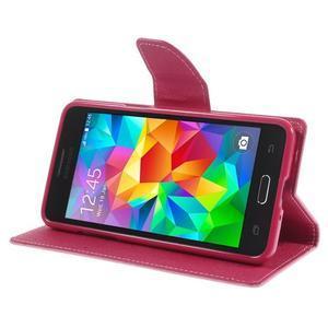Diary PU kožené puzdro na mobil Samsung Galaxy Grand Prime - ružové - 4