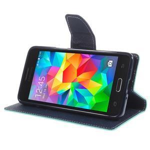 Diary PU kožené puzdro pre mobil Samsung Galaxy Grand Prime - cyan - 4