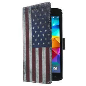 Wallet PU kožené puzdro na mobil Samsung Galaxy Grand Prime - US vlajka - 4