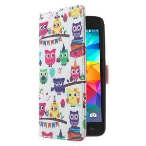 Wallet PU kožené puzdro na mobil Samsung Galaxy Grand Prime - sovičky - 4