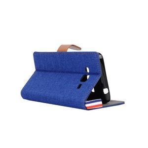 Jeans koženkové / textilné puzdro pre Samsung Galaxy Grand Prime - modré - 4