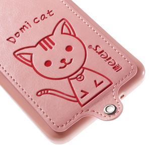 Mačička Domi kryt s PU koženým chrbtom pre Samsung Galaxy Grand Prime - ružový - 4