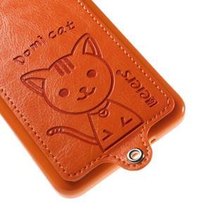 Mačička Domi kryt s PU koženým chrbtom pre Samsung Galaxy Grand Prime - oranžový - 4