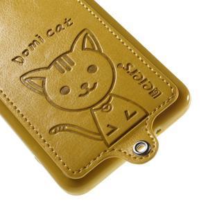 Mačička Domi kryt s PU koženým chrbtom pre Samsung Galaxy Grand Prime - žltý - 4