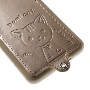 Mačička Domi kryt s PU koženým chrbtom pre Samsung Galaxy Grand Prime - zlatý - 4