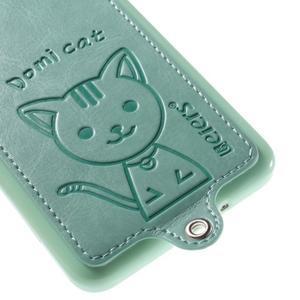 Mačička Domi kryt s PU koženými chrbtom pre Samsung Galaxy Grand Prime - cyan - 4