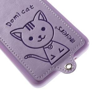 Mačička Domi kryt s PU koženými chrbtom pre Samsung Galaxy Grand Prime - fialový - 4