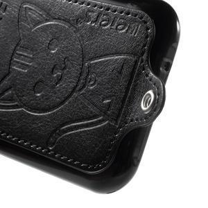 Obal s koženkovým chrbtom a mačičkou Domi pre Samsung Galaxy J1 -  čierne - 4