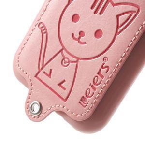 Obal s koženkovým chrbtom a mačičkou Domi pre Samsung Galaxy J1 -  ružová - 4