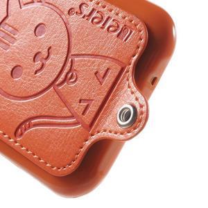 Obal s koženkovým chrbtom a mačičkou Domi pre Samsung Galaxy J1 -  oranžový - 4