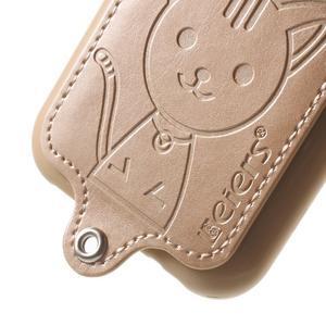 Obal s koženkovým chrbtom a mačičkou Domi pre Samsung Galaxy J1 -  zlatý - 4