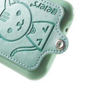 Obal s koženkovým chrbtom a mačičkou Domi pre Samsung Galaxy J1 -  azúrové - 4
