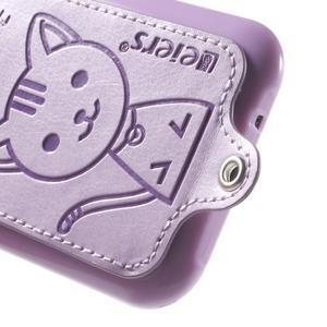 Obal s koženkovým chrbtom a mačičkou Domi pre Samsung Galaxy J1 - fialový - 4