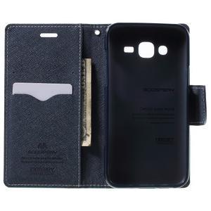 Diary štýlové peňaženkové puzdro pre Samsung Galaxy J5 -  azúrové - 4