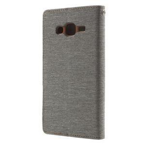 Luxury textilní/pu kožené puzdro na Samsung Galaxy J5 - šedé - 4