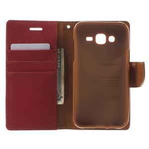 Luxury textilní/pu kožené puzdro na Samsung Galaxy J5 - červené - 4