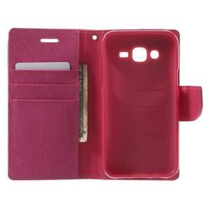 Luxury textilné/pu kožené puzdro pre Samsung Galaxy J5 - rose - 4