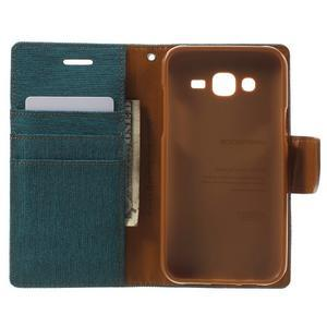 Luxury textilní/pu kožené puzdro na Samsung Galaxy J5 - zelenomodré - 4