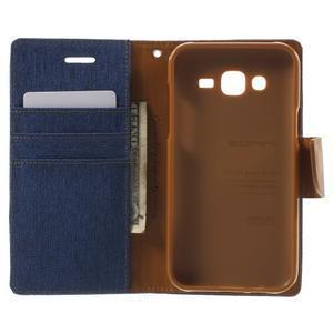 Luxury textilné/PU kožené puzdro pre Samsung Galaxy J5 -  modré - 4