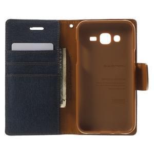 Luxury textilné/PU kožené puzdro pre Samsung Galaxy J5 -  tmavomodré - 4