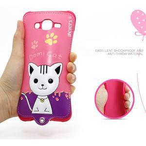 Gélový obal s mačičkou Domi s koženkovým chrbtom na Samsung Galaxy J5 - rose - 4