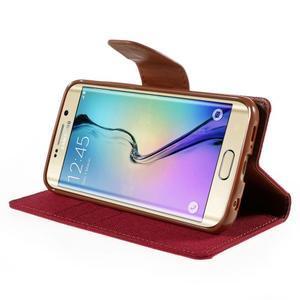 Luxury textilné / koženkové puzdro pre Samsung Galaxy S6 Edge - červené - 4