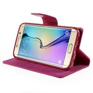 Luxury textilné / koženkové puzdro pre Samsung Galaxy S6 Edge - rose - 4