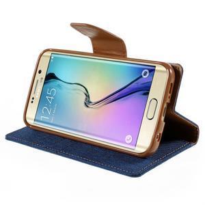 Luxury textilné / koženkové puzdro pre Samsung Galaxy S6 Edge - modré - 4