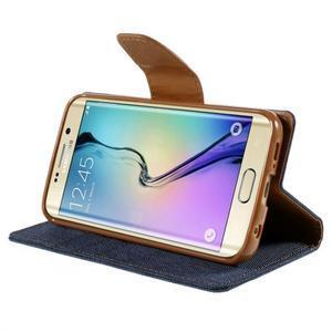 Luxury textilné / koženkové puzdro pre Samsung Galaxy S6 Edge - jeans - 4