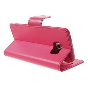 Wallet PU kožené puzdro pre Samsung Galaxy S6 Edge G925 -  rose - 4