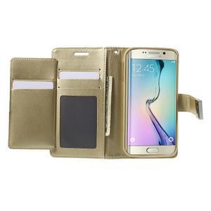 Wallet PU kožené puzdro pre Samsung Galaxy S6 Edge G925 - champagne - 4