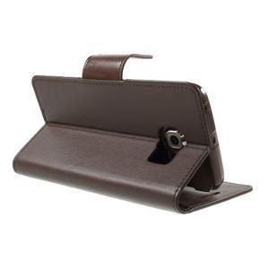 Wallet PU kožené puzdro pre Samsung Galaxy S6 Edge G925 -  tmavohnedé - 4