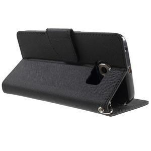 Diary PU kožené puzdro na Samsung Galaxy S6 Edge - čierne - 4