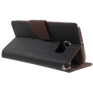 Diary PU kožené puzdro na Samsung Galaxy S6 Edge - čierne/hnede - 4