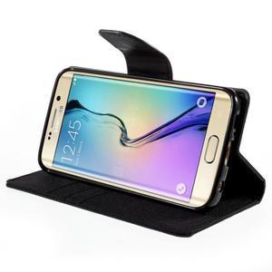 Luxury textilné / koženkové puzdro pre Samsung Galaxy S6 Edge - čierne - 4