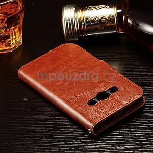 Koženkové peňaženkové puzdro pre Samsung Galaxy Xcover 3 - hnedé - 4